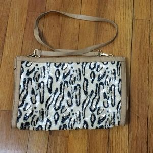 🦄French Connection sequin cheetah print purse